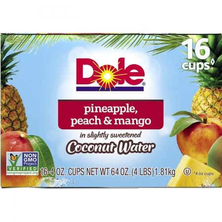 Dole Pineapple, Peach & Mango in Coconut Water 16ct